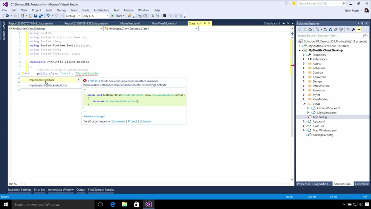 Light Bulbs will preview the changes that will occur if you apply the action. #vs2015 @VisualStudio http://t.co/eHyLHYfDp9