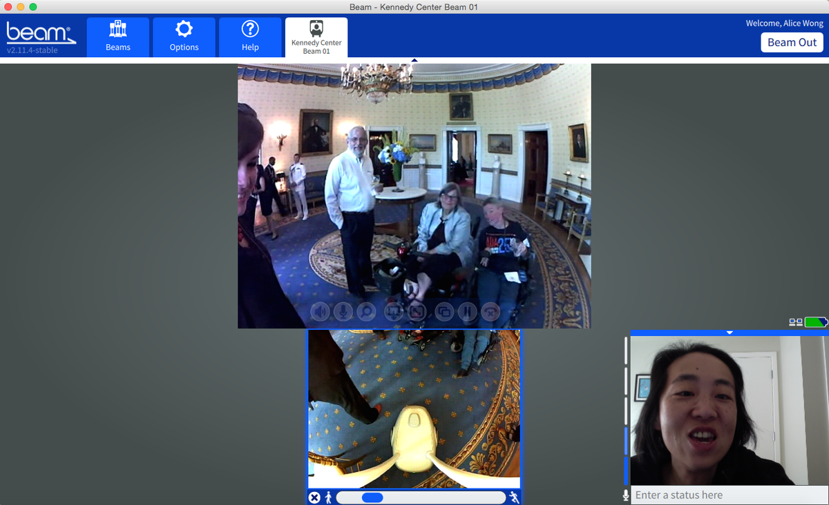 Using Beam Pro @suitabletech inside the @WhiteHouse for #ADA25 event!! Talk about access for people w/ disabilities! http://t.co/CTD2k4fQEG