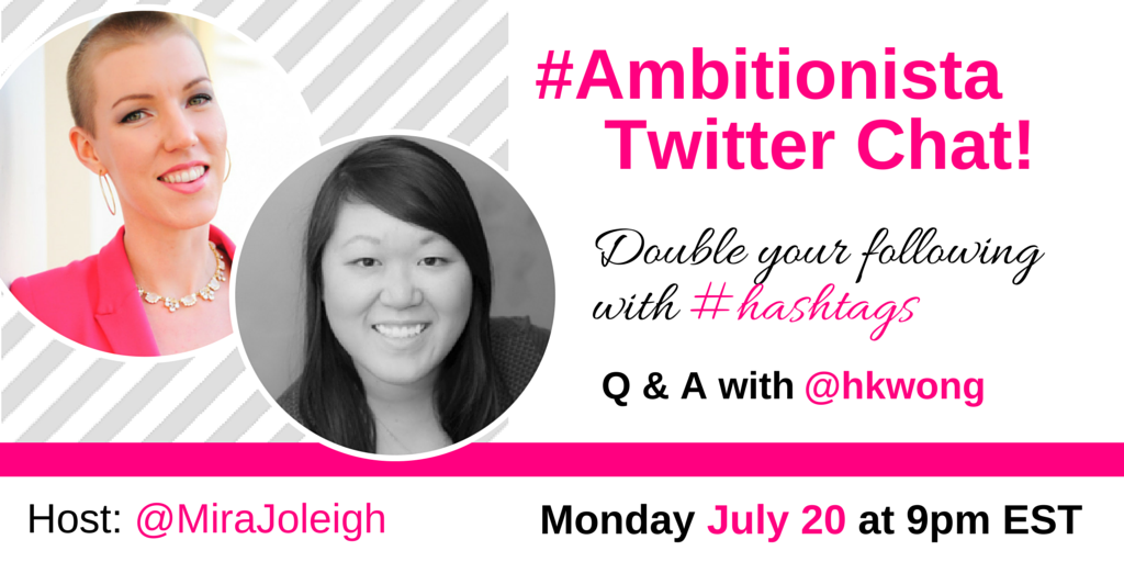 Are you joining us TONIGHT on the #Ambitionista chat? The topic is #hashtags w/ special guest @hkwong! RT! http://t.co/iF57xXXxIj