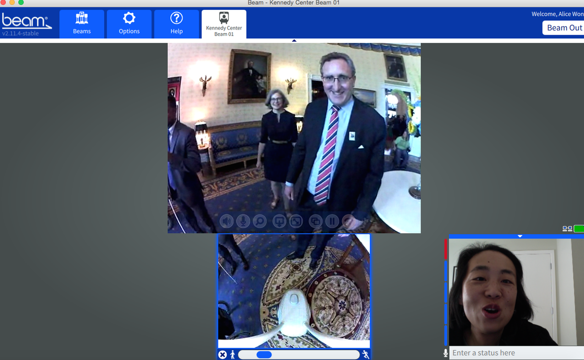 This is so 2015...using @suitabletech Beam Pro to chat w/ my Twitter buddy @AndyAUCD who I've never met IRL #ADA25 http://t.co/Pgb5OsZ4Yy