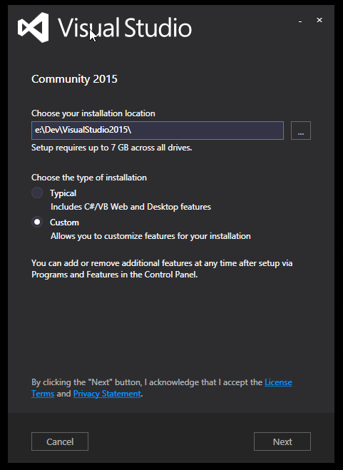 Installing #Microsoft #VisualStudio 2015 after uninstalling a lot of #garbage! #vs2015 http://t.co/XVUdGfsJHy