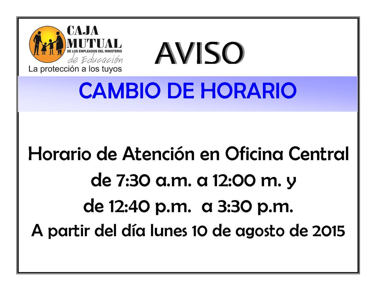 Caja mined on twitter aviso importante del cambio de for Oficina de correos alicante horario