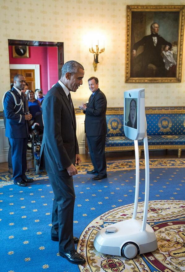 President Obama talks w Alice Wong via robot before ADA reception today. http://t.co/W7BMEwWX9B