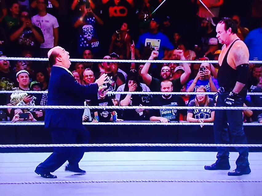 Much as I love and support and endorse @HeymanHustle I couldn't help laughing out loud. Brilliant #RAW TheUndertaker http://t.co/fi8D2pmaRJ