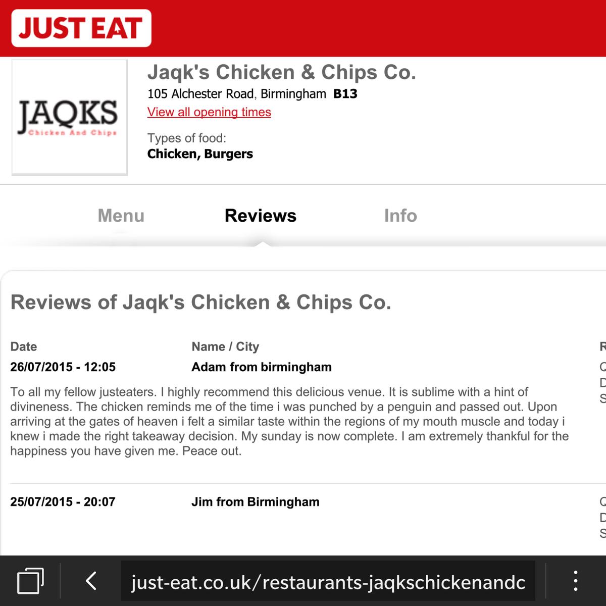 Just Eat Uk On Twitter At Jaqksco Excellent Lpr