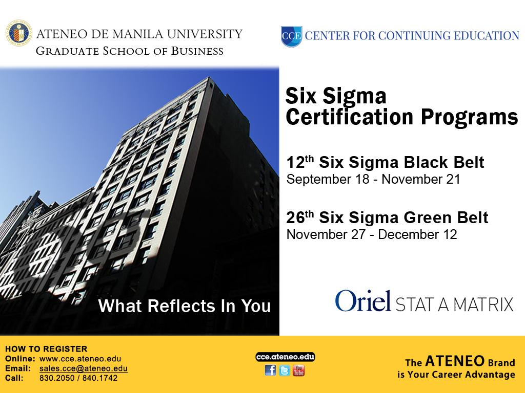 Ateneo Cce On Twitter Six Sigma Certification Programs Httpt