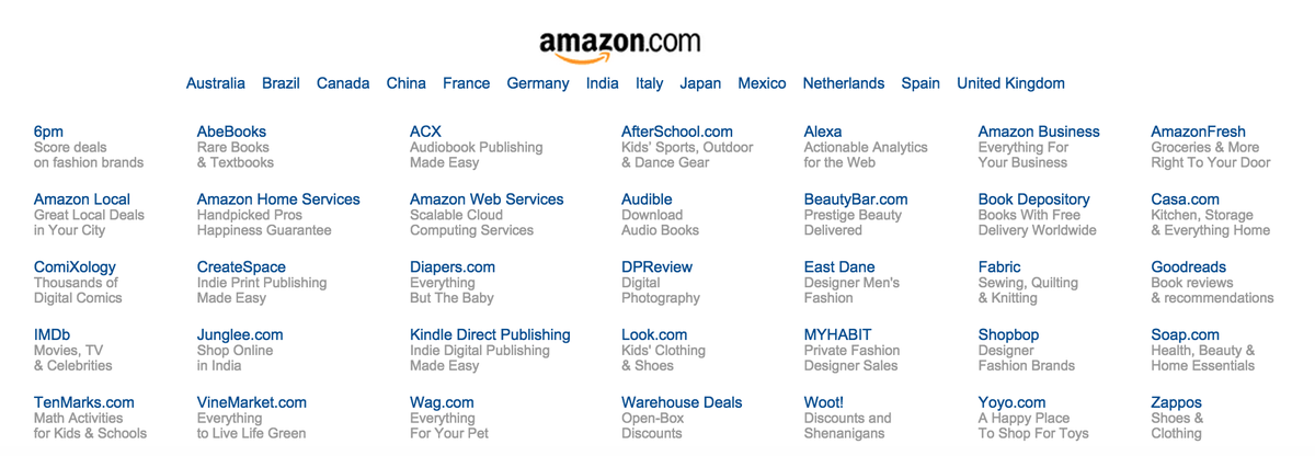 Wow, looked at the Amazon footer recently? The amount of companies they've acquired is astounding... http://t.co/YrSp9LYZUd