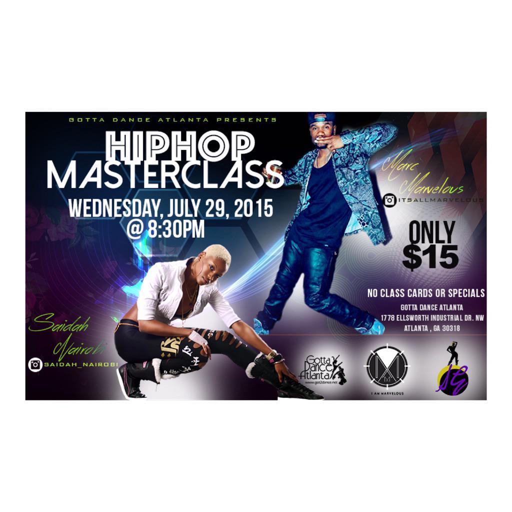 MASTERCLASS ALERT!!!! Thursday JULY 29th! Master collab with @saidah_nairobi and Myself! 830pm at @GottaDanceATL http://t.co/qucvAvUWmK