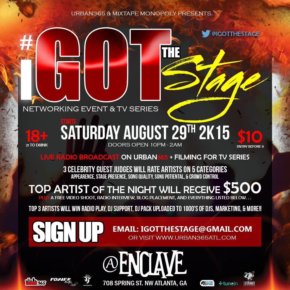 Performance slots available for #IGotTheStage Aug 29th || $500 TO THE WINNER + MORE! EMAIL: IGotTheStage@Gmail.com http://t.co/DTnyZSa6Qb