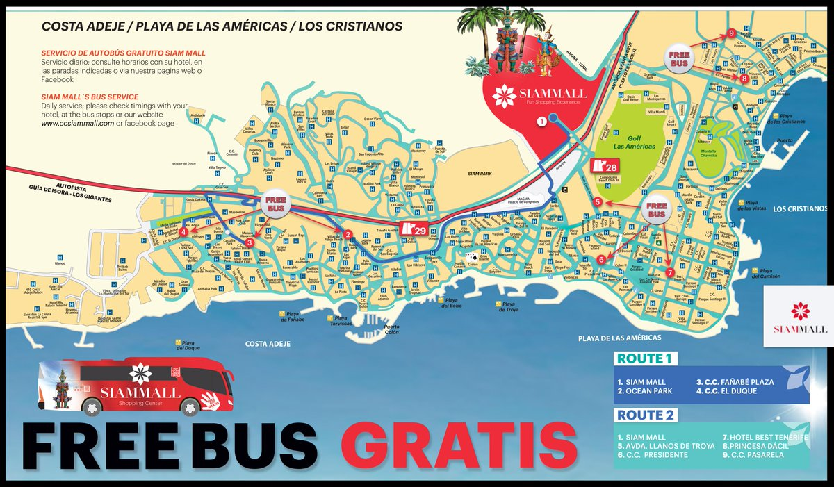 free bus to siam park from los cristianos
