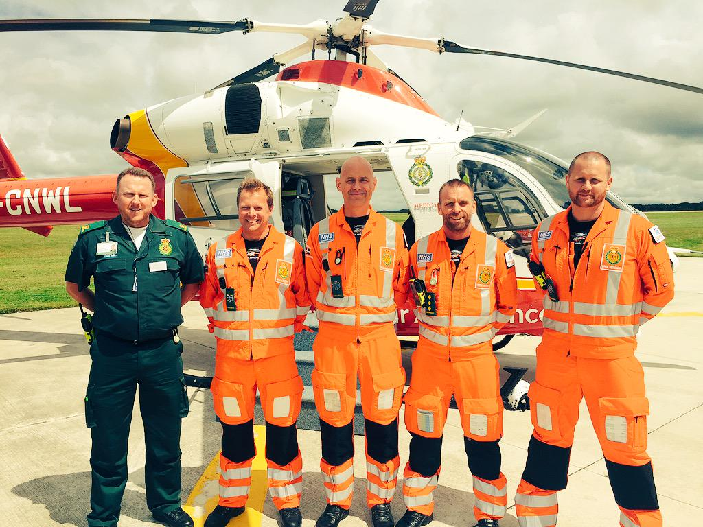 Paramedics from @cornwallairamb are ready to meet The Duchess of Cornwall outside their headquarters. #TRHCornwall http://t.co/JMUgn0L65O