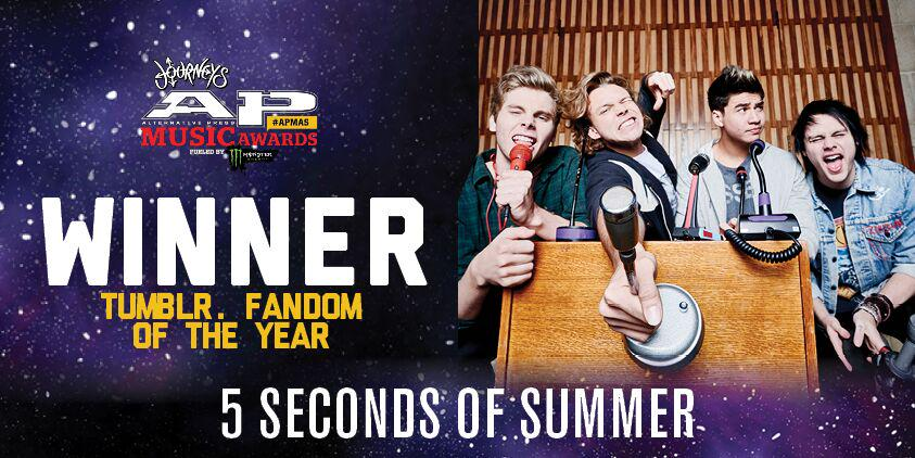 You @5SOS fans are all about that @tumblr! Congrats on winning #APMAs Tumblr. Fandom of the Year! #thisisCLE http://t.co/9ydgthfaNq