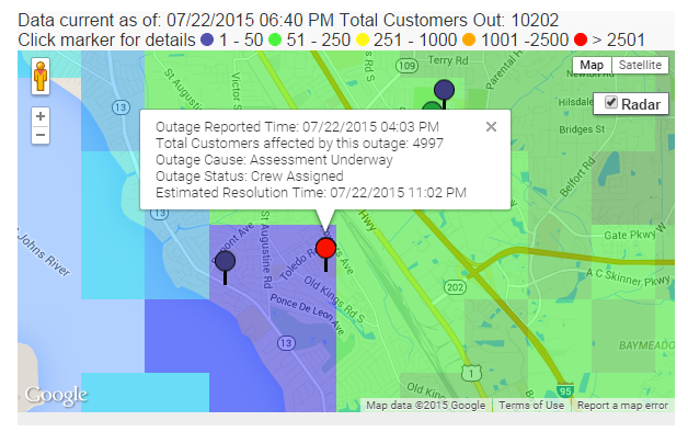 Power Outage Map Jea.Power Outage Update Jea Outage Map Now Says Nearly 5 000 Customers