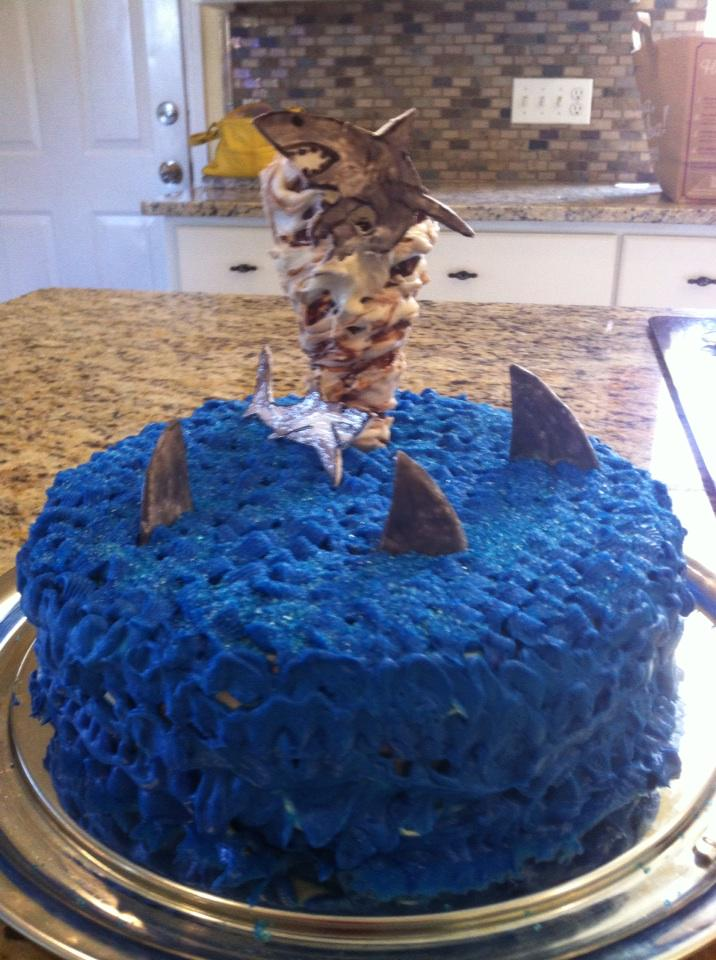 #Sharknado3 wife made Sharknado red velvet cake http://t.co/oZblvcWum8