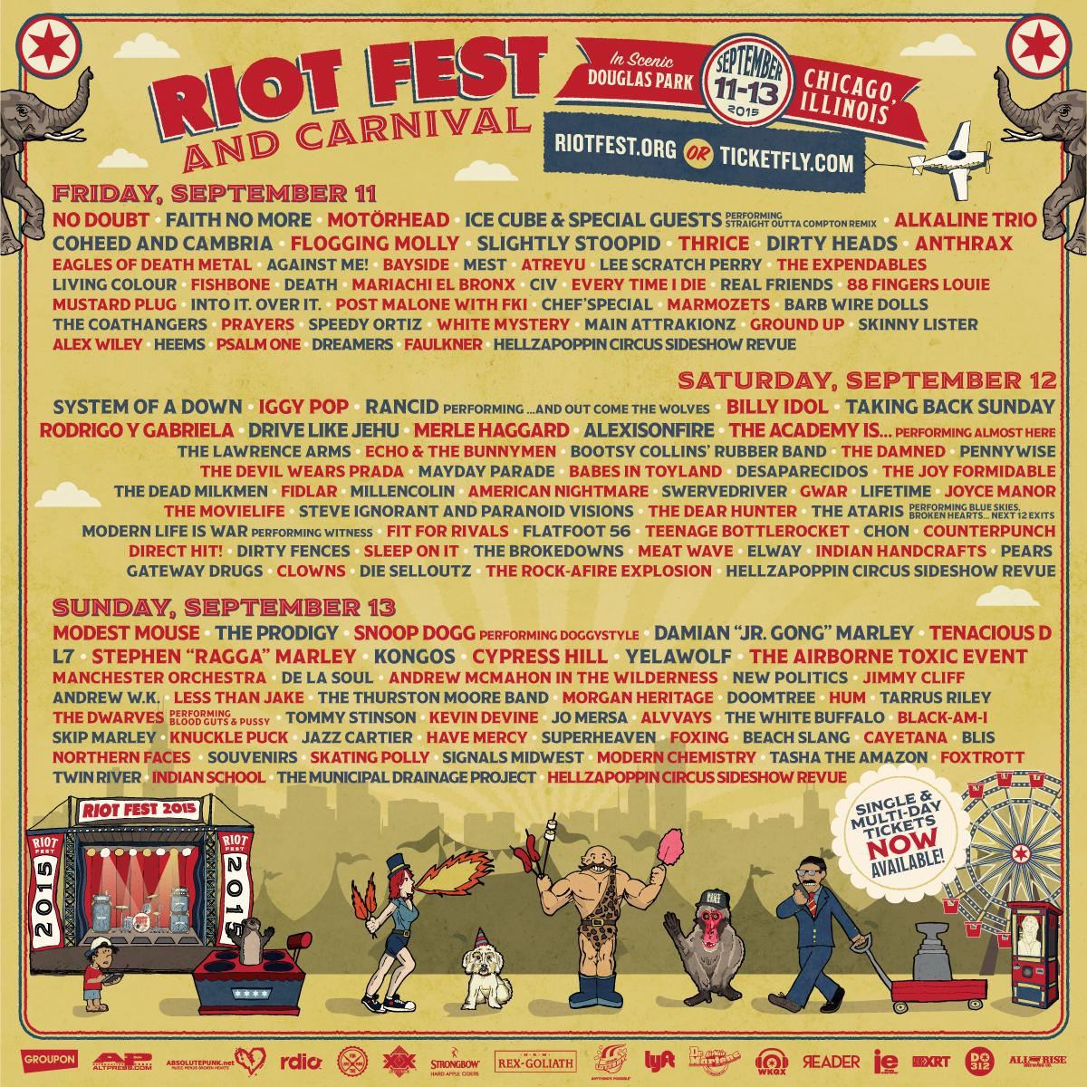 Single day tix are now on sale for @RiotFest Chicago! We're playing Fri 9/11, get tix now at http://t.co/EnytjuGGy2! http://t.co/P7IPZEUdus