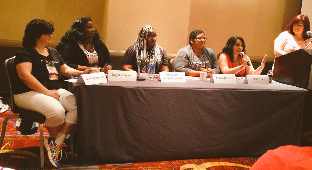 Alisha talking about #weneeddukeromance and duke author panels in a great example during the diversity panel. #rwa15 http://t.co/xuxh7lxZt8