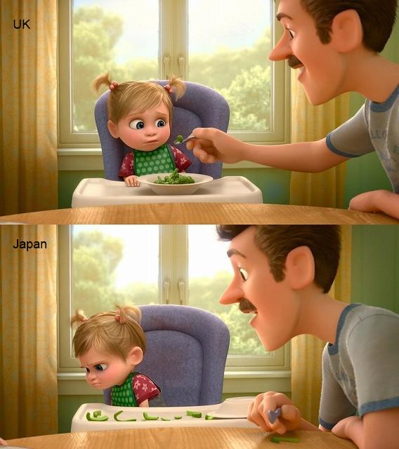 Pixar's Inside Out contextual visuals; in UK, Dad likes football and child hates broccoli. US: hockey, Japan: peppers http://t.co/Dtu2qEhJ4j