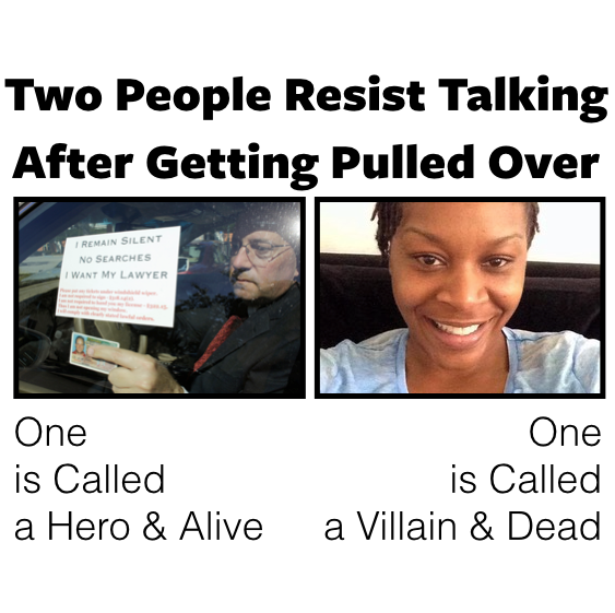 The tale of two people resisting talking to police. #SayHerName #SandraBland #SAChat http://t.co/TWHE4Oiy6I