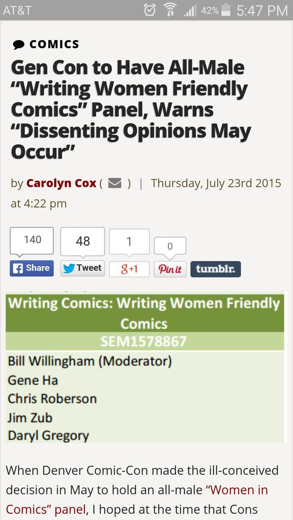 idea: make a writing woman friendly comics panel but have no women involved http://t.co/swG6Vtx05x