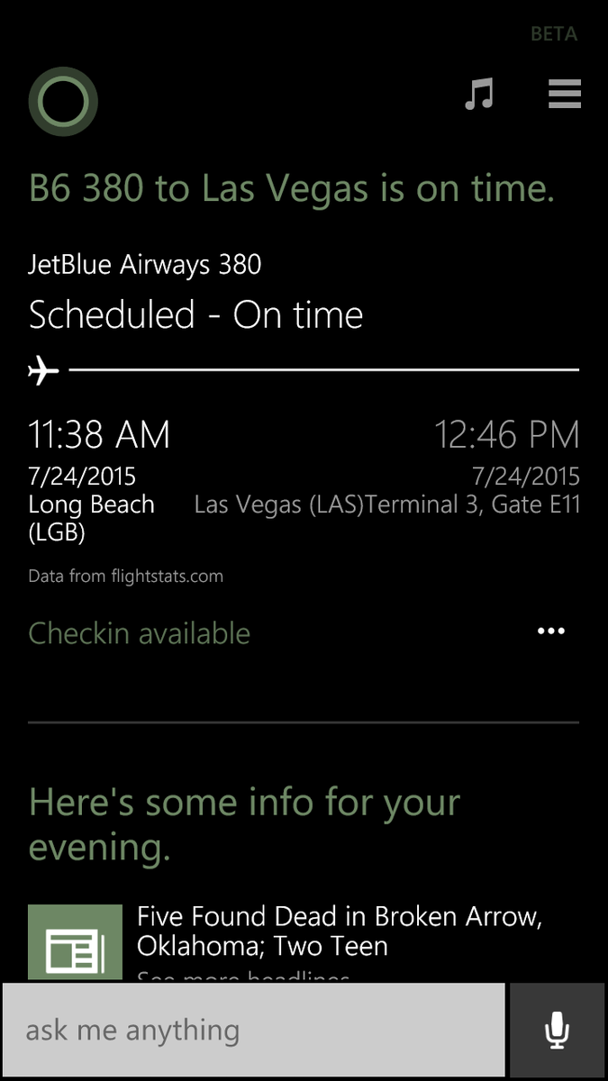 #Cortana kicking butt lately! Showing my wife's flight plans for tomorrow with link to check in ahead of time! http://t.co/Dq5F1mPKTN