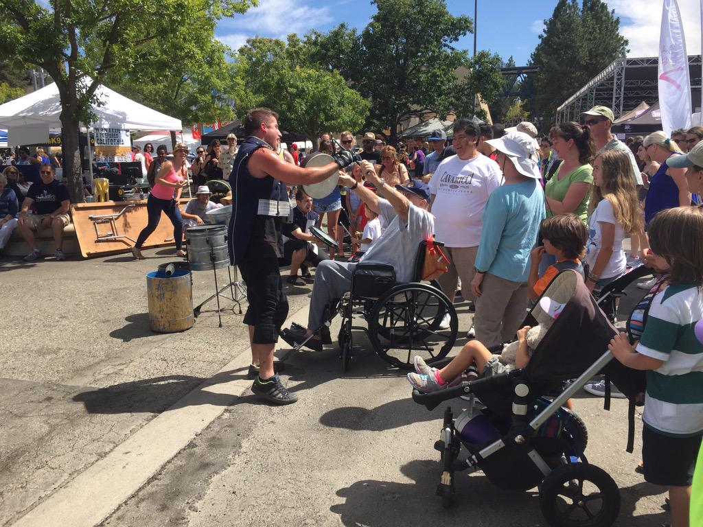 Street Drum Corp treating this elderly gentleman great that was having a rocking time @CAStateFair @StreetDrumCorps http://t.co/lkx0QpYFdx