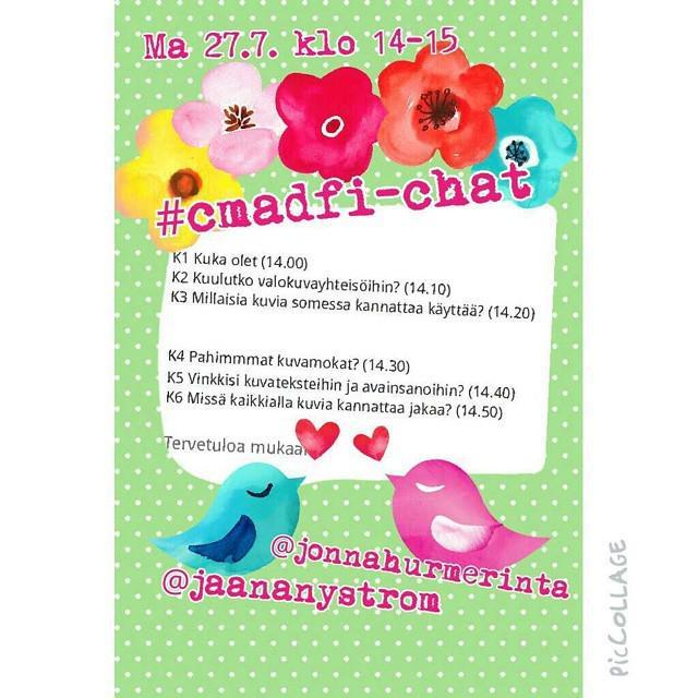 Maanantaina Twitterissä chattaillaan kuvista. #cmadfi Jaa, jos tulet mukaan! #somefi #twpa #twitterfi #twitterchat … http://t.co/bniSAGcJ4K