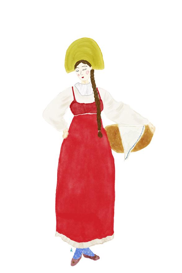 """My #colour_collective for this week """"Bread girl"""" #watercolour #illustration http://t.co/8dC0nKXqKj"""