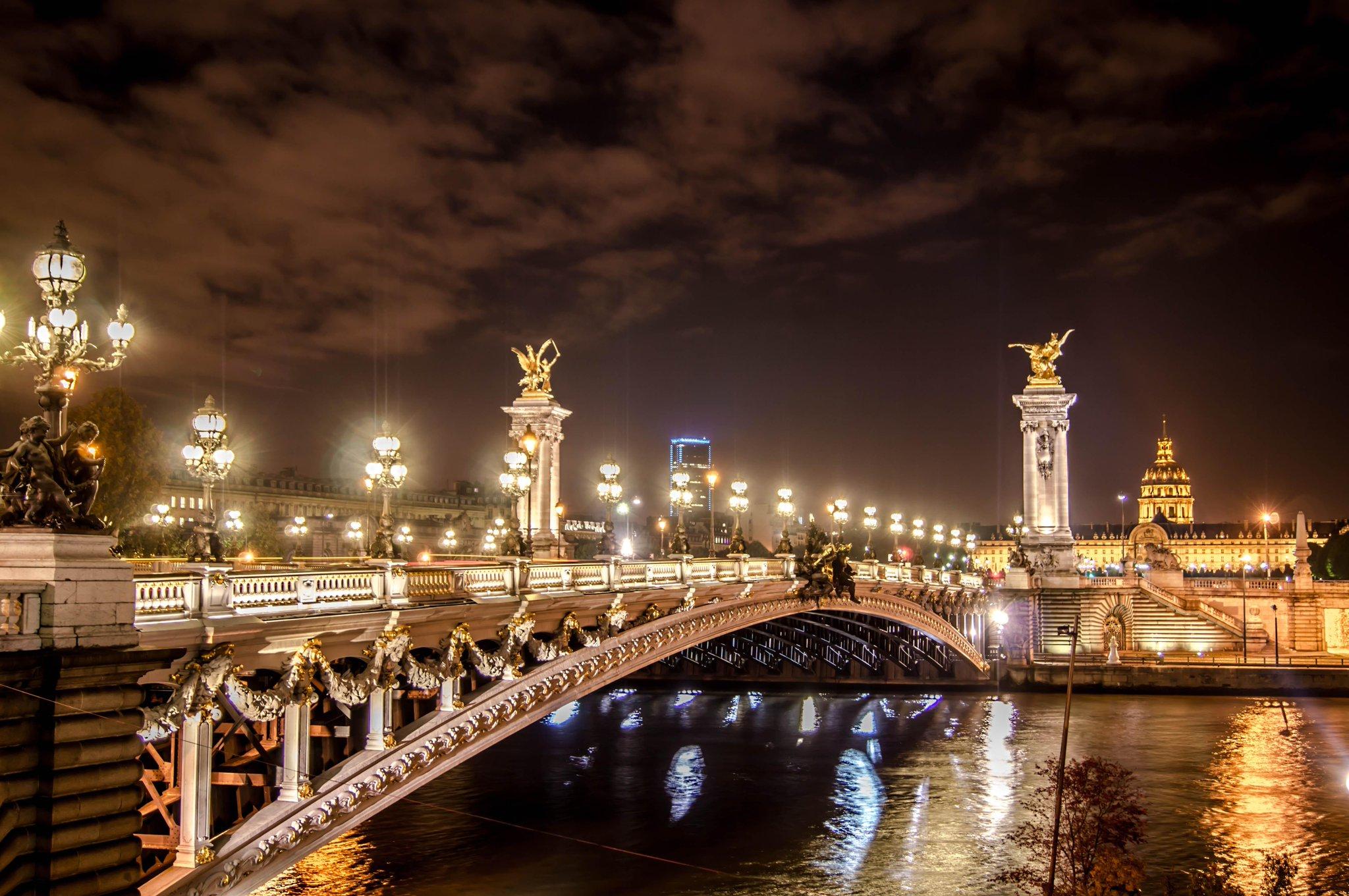 Фотообои на рабочий стол ночного города парижа