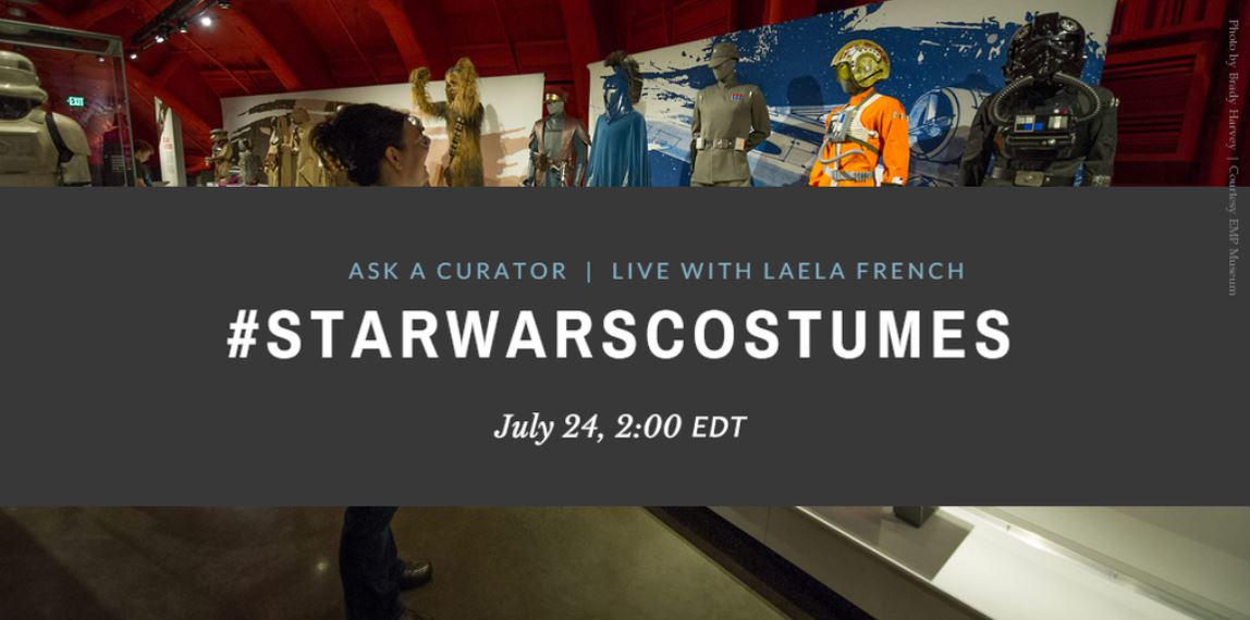 Today at 2 p.m. EDT, join @sitesExhibits for a Q&A about #StarWarsCostumes with an expert. 💥🌟✨🚀 http://t.co/3tYD5Xa8nx