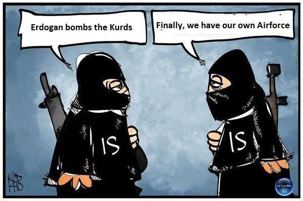 Erdogan, Kurds and ISIS, cartoon