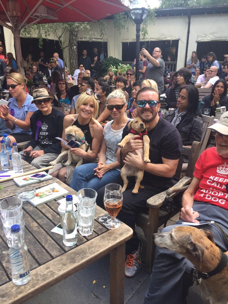 Wonderful turnout at @AllDogsMatter #pup idol today with @rickygervais is puppy Monty who needs a home  . http://t.co/3p2jPZDYt7