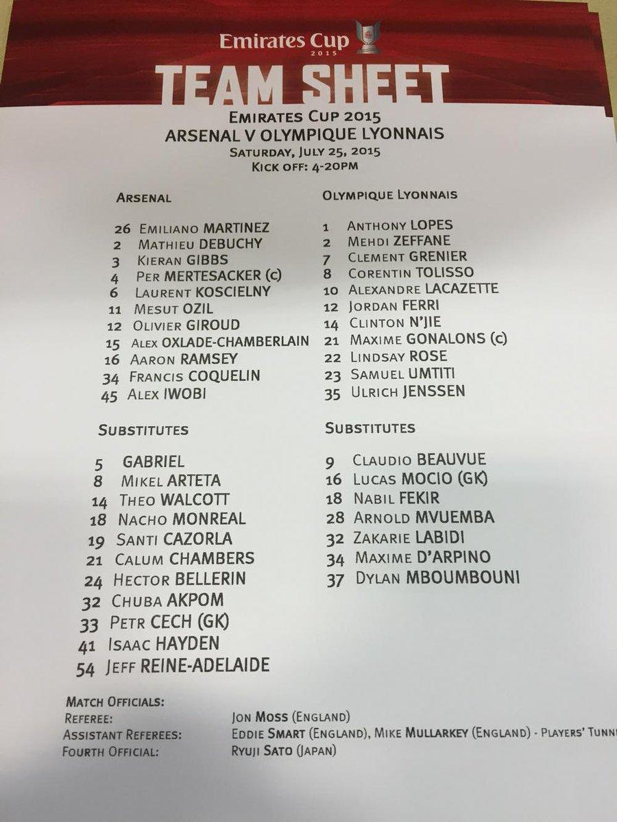 Arsenal v Lyon teams http://t.co/1VpCyje3VZ
