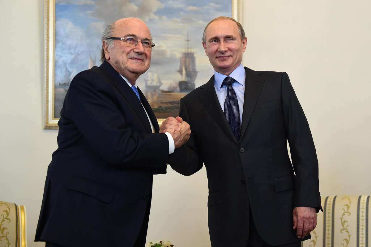 World Cup 2018: Blatter and Putin put on united front at draw