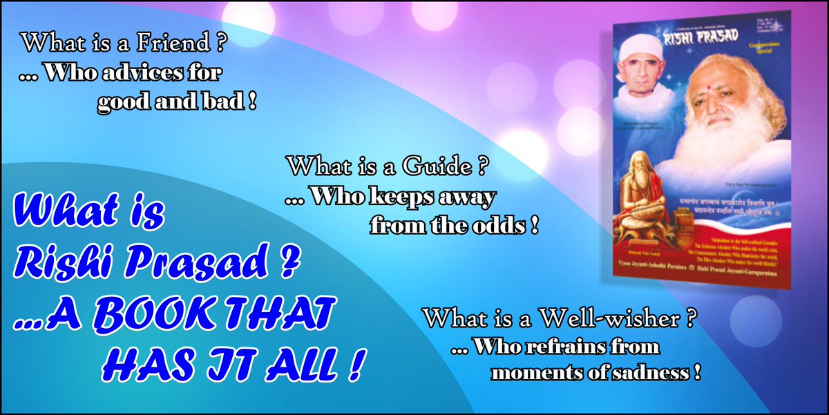 Rishi Prasad magazine is like a true friend, a precious gift from Sant Shri Asaram Bapu Ji to the society!   Best wishes on #29thRishiPrasadJayanti !<br>http://pic.twitter.com/B5uFmLleQr