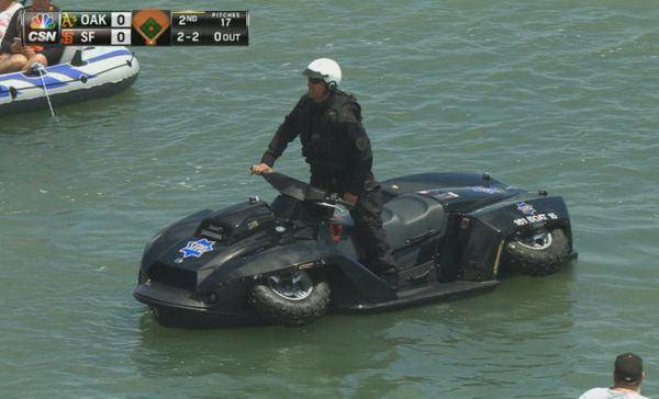 The latest Tactical Amphibious Vehicle hanging out at McCovey Cove today! http://t.co/kaoiSPttGn