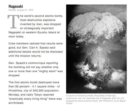 70 years ago, the U.S. dropped an atomic bomb on #Nagasaki. Read the AP story from that day: http://t.co/hPUL3n80oO