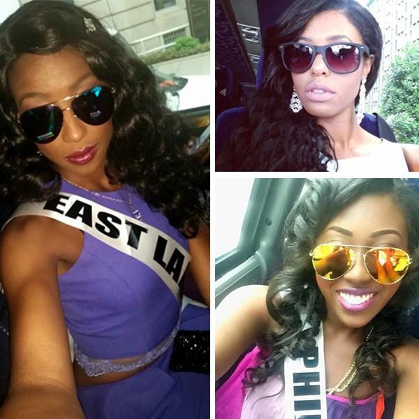 Contestants for the 2015 @MissBlackUSA Pageant showing off their #nystyle while touring DC. #beauty #fashion #shades http://t.co/MxOxXwN40r