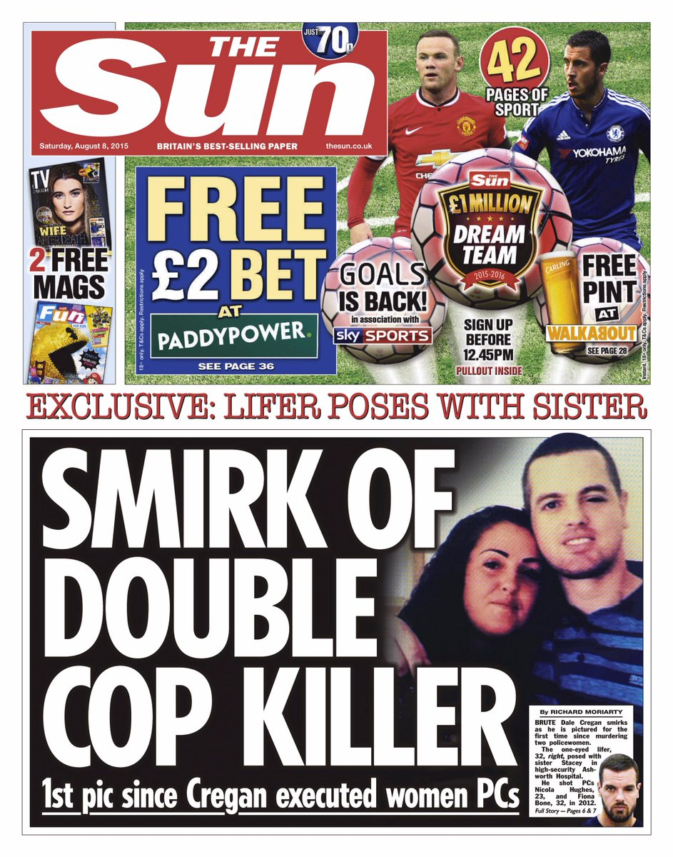 The sun front page: 'smirk of double cop killer' #skypapers