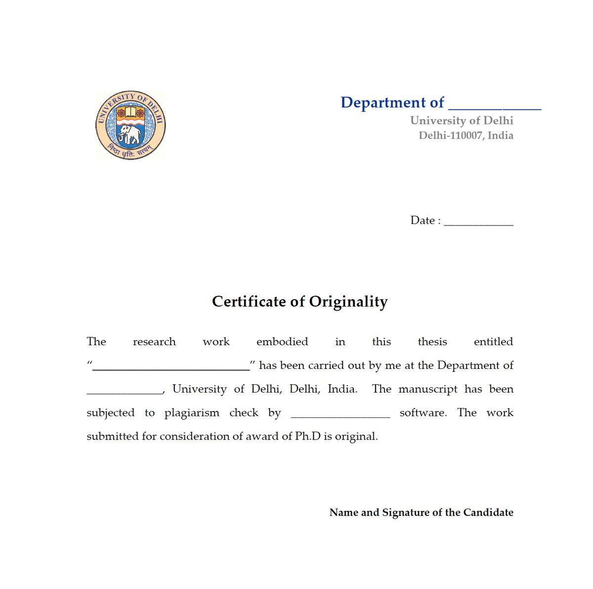 Phd thesis declaration of originality
