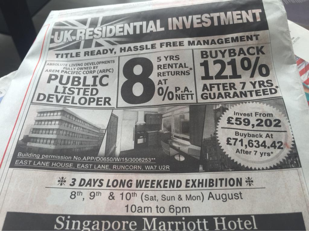 Residential development in Runcorn marketed in the Straits Times, Singapore. http://t.co/rUjcYtdbrm