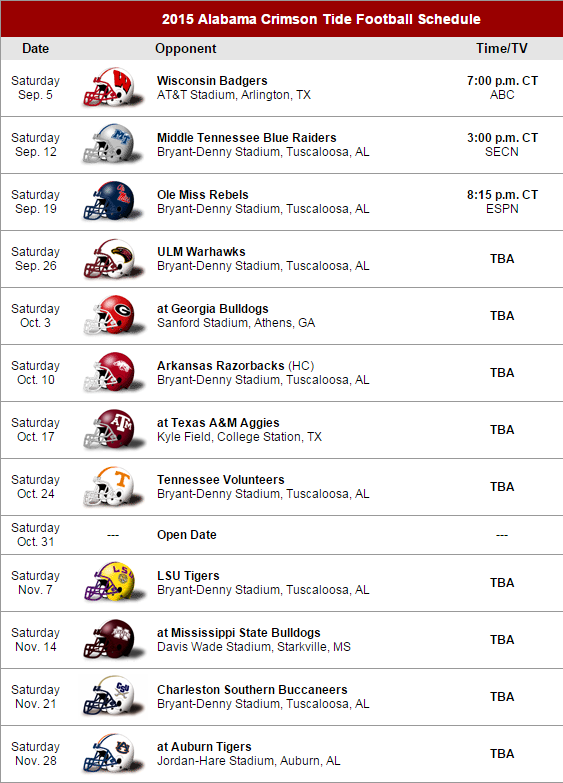 Sec Country On Twitter 2015 Alabama Crimson Tide Football Schedule