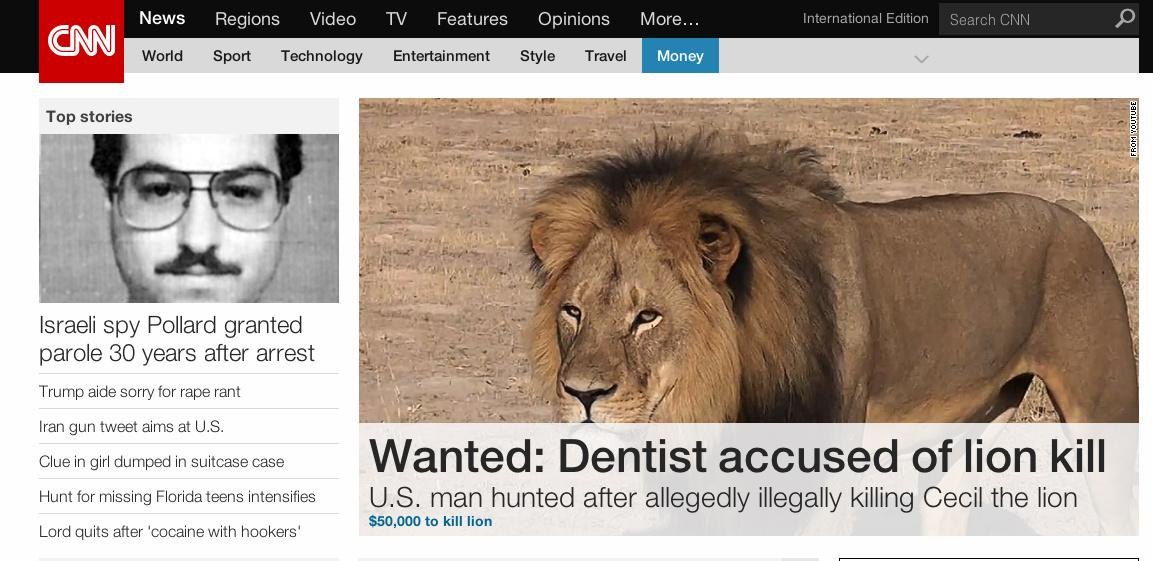 RT @MonicaSarkar: I love that @CNNi is leading with: U.S. man wanted in #CecilTheLion killing http://t.co/mLsaxejKCS #WildlifeMatters http:…
