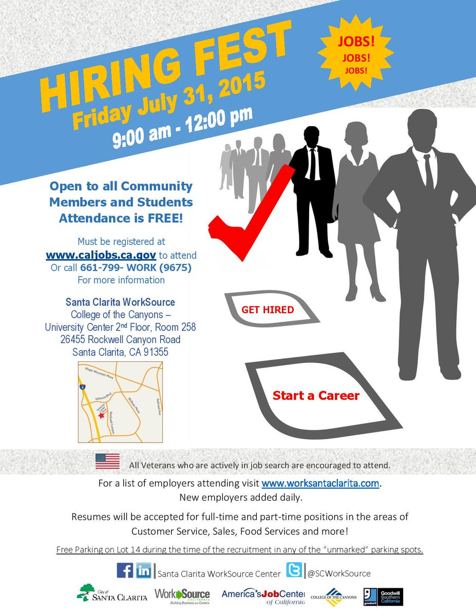 Hiring fest in Santa Clarita! If you're looking for work, come meet some employers & start a career! #CSS #careers