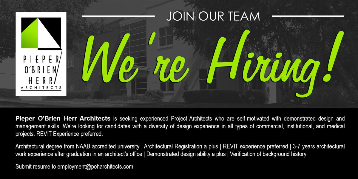 POH Architects News on Twitter Were hiring Submit resumes to