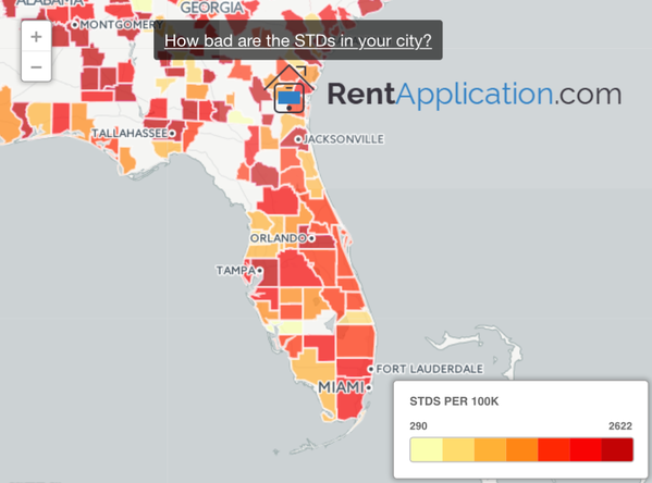 Show Map Of Florida.Billy Corben On Twitter Map Shows Florida S Std Hot Spots Http T