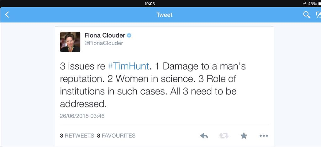 RT @FionaClouder: 3 issues re #TimHunt 1. Reputation. 2. Women in Science. 3. Role of institutions. We still need to address all three http…