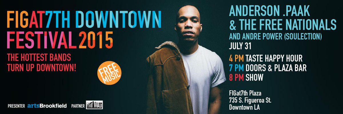 FREE Concert Friday @ #FIGat7th: Anderson.Paak + @Soulection's @AndrePower spread the good vibes! @BreezyLovejoy http://t.co/7Iy3A8HL8T