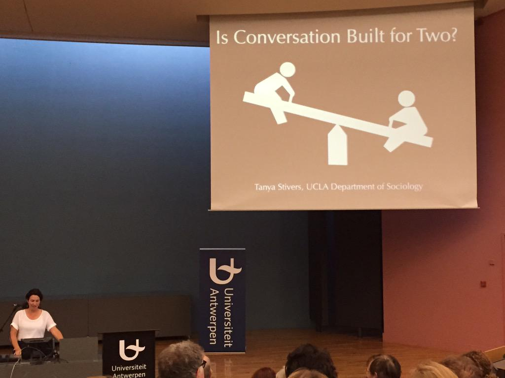 Stivers: Conversation is fundamentally built for two participants. #IPrA2015 http://t.co/0Sf2r5fYnK
