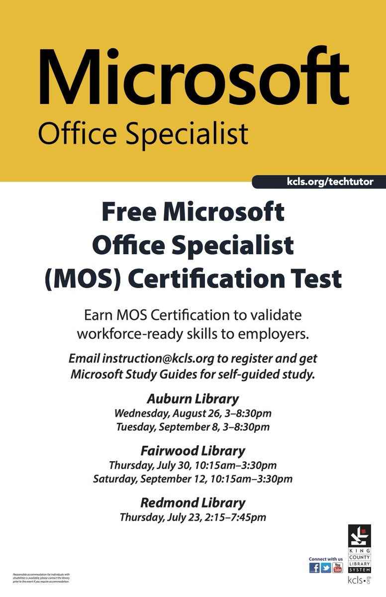 King County Library On Twitter Take A Free Microsoft Office