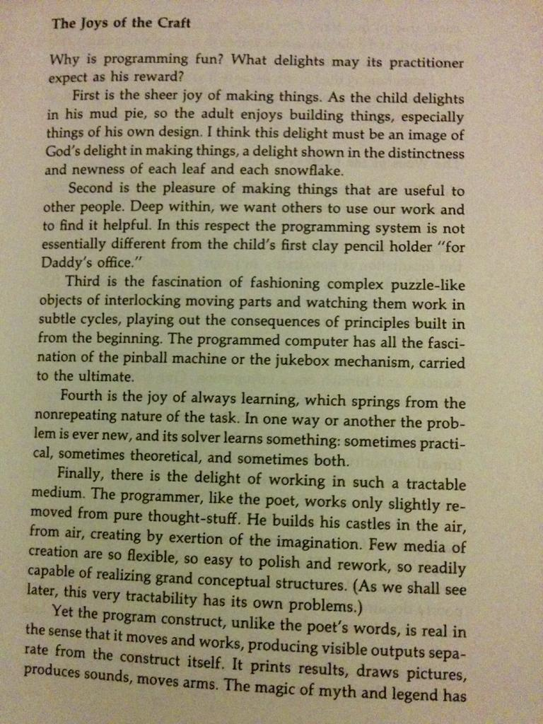 I find this description of programming to be too accurate. (From The Mythical Man-Month) http://t.co/a9adw4HpBI